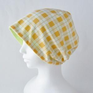 医療用帽子 抗がん剤帽子 脱毛時の帽子 ケア帽子 にも使える ゆるいリバーシブル帽子 オレンジチェック 若草グリーン|atelierf