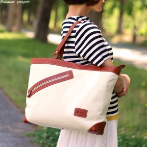 革と帆布のトートバッグ No.1 ateliergungnir