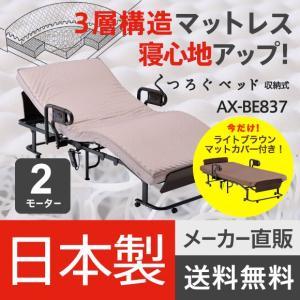 【日本製】くつろぐベッド 収納式(マットカバー(LB)付き) BE837_BZ730LB|atex-net