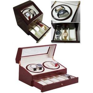 時計用木製高級デラックスツインワインディングマシーン2個又は4個用|atex