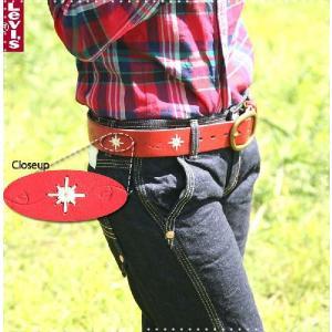 リーバイスLEVISREDTABリアルレザー型押し×刺繍デザインベルト