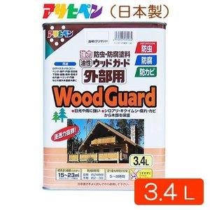 アサヒペン 油性 ウッドガード 外部用 クリヤ01 3.4L 天然木製品用 防虫 防腐 塗料|atgarden
