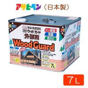 アサヒペン 油性 ウッドガード 外部用 クリヤ01 7L 天然木製品用 防虫 防腐 塗料|atgarden