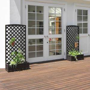 天然木製 ラティス付きプランター ダークブラウン 2個セット 高さ150cm × 幅71.5cm|atgarden