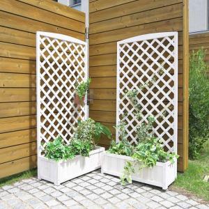 天然木製 ラティス付きプランター ウォッシュホワイト 2個セット 高さ150cm × 幅71.5cm|atgarden