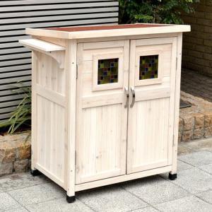 木製収納庫 物置 ポタジェモザイク potager mosaique ロータイプ (高さ93cm)|atgarden|03
