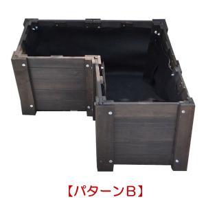 プランター 木製 花壇 レイズドベッド 3面セット コンテナガーデン フリーデザイン花壇|atgarden