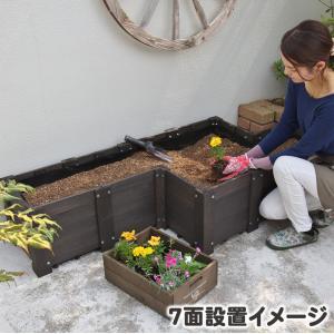 プランター 木製 花壇 レイズドベッド 1面 (フリーレイアウト用) コンテナガーデン フリーデザイン花壇