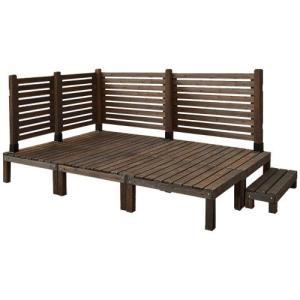 天然木製 システムサンデッキ (90×90cm) 6台 + ステップ台 × フェンス72cm×2&120cm×2|atgarden