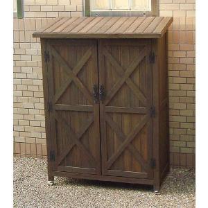 木製収納庫 物置 カントリーアンティーク スリム収納庫 (高さ120cm)|atgarden