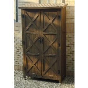 木製収納庫 物置 カントリーアンティーク スリム収納庫 (高さ160cm)|atgarden