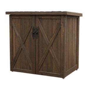 木製収納庫 物置 カントリーアンティーク スリードア収納庫 (高さ73cm)|atgarden