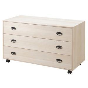 ワイド桐チェストキャスター付き 3段 HI-0067 桐タンス/同梱不可・代引き不可|athenesys