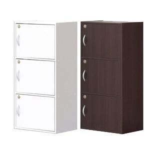 【クロシオ 鍵付きボックス 3段】 カギ付きキャビネット 全段カギ付きシークレットボックス/同梱不可・代引き不可|athenesys