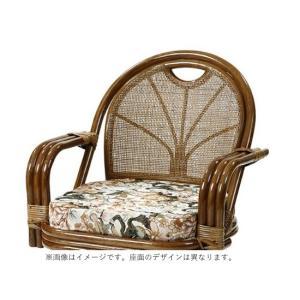 ラタン リラックスチェア 【ジャガード織り 回転チェア  ミドルハイタイプ C842HRBS】 籐 回転式高座椅子/同梱不可・代引き不可|athenesys|04