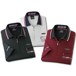 【在庫有】ダンロップ・モータースポーツ ボーダー柄5分袖ジップポロシャツ 同サイズ3色組 [半袖 メンズ スポーツウェア 3枚セット]|athenesys