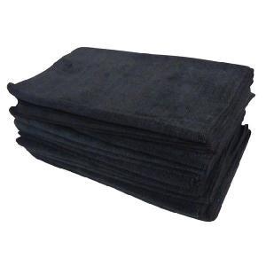 マイクロファイバーフェイスタオル12枚セット ブラック 黒 まとめ買い|athos