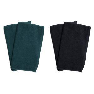 業務用フェイスタオル4枚セット:グリーン2枚とブラック2枚|athos