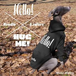 名入れ Hello!&HUG ME! プルオーバー フーディー (イタリアングレイハウンド イタグレ服)メール便OK|athos