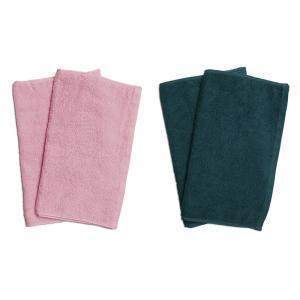 業務用フェイスタオル4枚セット:ピンク2枚とグリーン2枚|athos