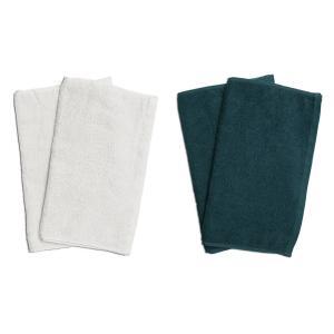 業務用フェイスタオル4枚セット:ホワイト2枚とグリーン2枚|athos