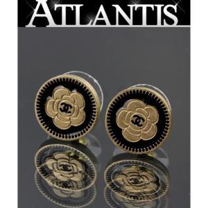 CHANEL シャネル カメリア ピアス ゴールド×黒 06P atlantis