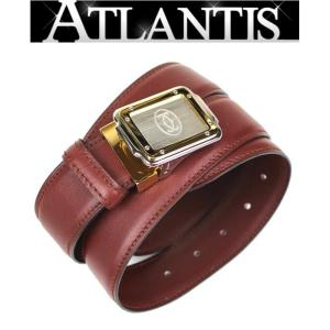 Cartier 極美品! カルティエ メンズ サントス ベルト レザー ボルドー size110|atlantis
