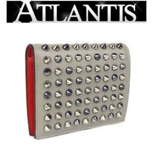 Christian louboutin クリスチャン・ルブタン 二つ折り コンパクト 財布 スタッズ レザー グレー|atlantis