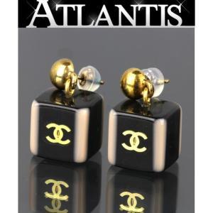 CHANEL シャネル ココマーク プラスチック キューブ ピアス 黒|atlantis