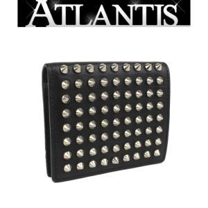 在庫処分大SALE クリスチャン・ルブタン 二つ折り コンパクト 財布 スタッズ レザー 黒|atlantis