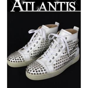 Christian louboutin クリスチャン・ルブタン メンズ スタッズ ハイカット スニーカー 靴 size39 白|atlantis