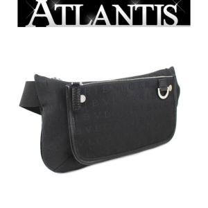 BVLGARI 極美品 ブルガリ ロゴマニア ウエスト バッグ ボディ バッグ キャンバス 黒|atlantis