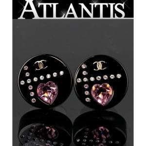 在庫処分大SALE シャネル 丸型 ハート ストーン ピアス 黒 04A|atlantis