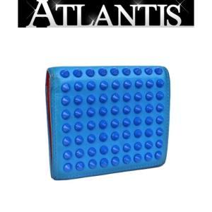 Christian louboutin クリスチャン・ルブタン 二つ折り コンパクト 財布 スタッズ レザー ブルー|atlantis
