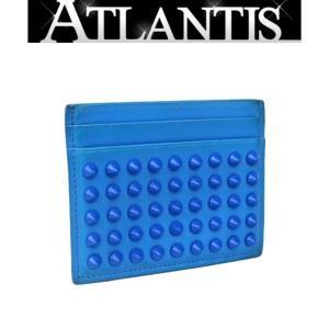 Christian louboutin SALE クリスチャン・ルブタン カードケース 名刺入れ スタッズ レザー ブルー|atlantis