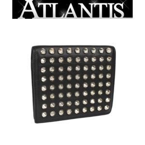 Christian louboutin クリスチャン・ルブタン 二つ折り コンパクト 財布 スタッズ レザー 黒|atlantis