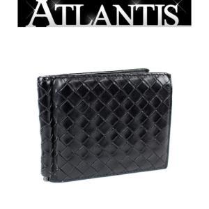 SALE ボッテガ・ヴェネタ マネークリップ付き 二つ折り 財布 イントレ 黒|atlantis