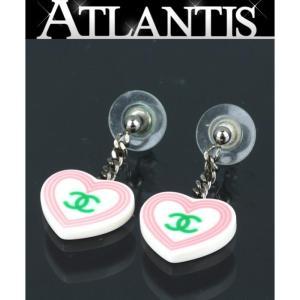 SALE シャネル プラスチック ハート スイング ピアス ココマーク ピンク atlantis