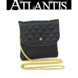 在庫処分大SALE 美品 シャネル CHANEL マトラッセ ミニミニチェーン ポーチ サテン 黒|atlantis