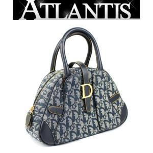 在庫処分大SALE 激レア 美品 ディオール Dior トロッター柄 ハンドバッグ ミニ ネイビー|atlantis