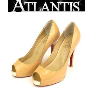 クリスチャン ルブタン オープントゥパンプス 靴 ベージュ size37|atlantis