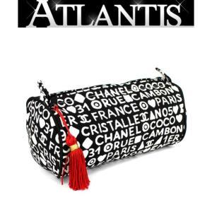 美品 シャネル CHANEL ノベルティ フリンジ付き 筒形 ポーチ  白×黒|atlantis