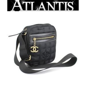 シャネル CHANEL 斜め掛けショルダーバッグ ニュートラベルライン ココマーク 金具 黒|atlantis