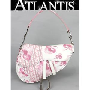 SALE 激レア ディオール Dior サドルバッグ キャンバス×エナメル 白×ピンク|atlantis