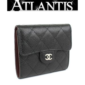 SALE 美品 シャネル CHANEL マトラッセ 三つ折り コンパクト 財布 キャビア 黒 2018年|atlantis