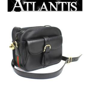 美品 激レア グッチ GUCCI オールドグッチ 斜め掛け ショルダーバッグ シェリーライン 黒 オールレザー|atlantis