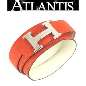 エルメス HERMES Hベルト コンスタンス オレンジ×白 SV金具 スイフト×エプソン T刻印 size100|atlantis