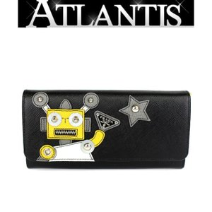 SALE 美品 プラダ PRADA ファスナー付き 長財布 レザー パスケース付き ロボット 黒×黄色 1MH132|atlantis