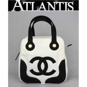 激レア 美品 シャネル CHANEL マシュマロ ハンドバッグ キャンバス 白 黒|atlantis
