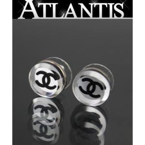 美品 シャネル CHANEL ココマーク ミラー ピアス 黒|atlantis